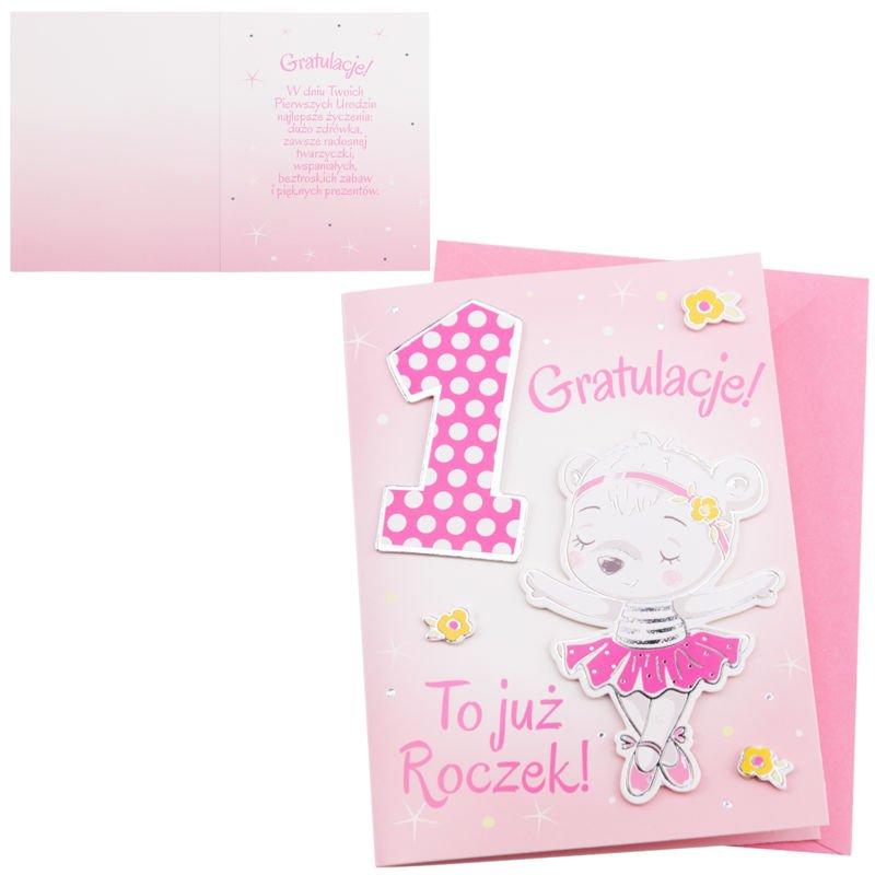 Kartka na 1 Urodziny - To już roczek dla Dziewczynki