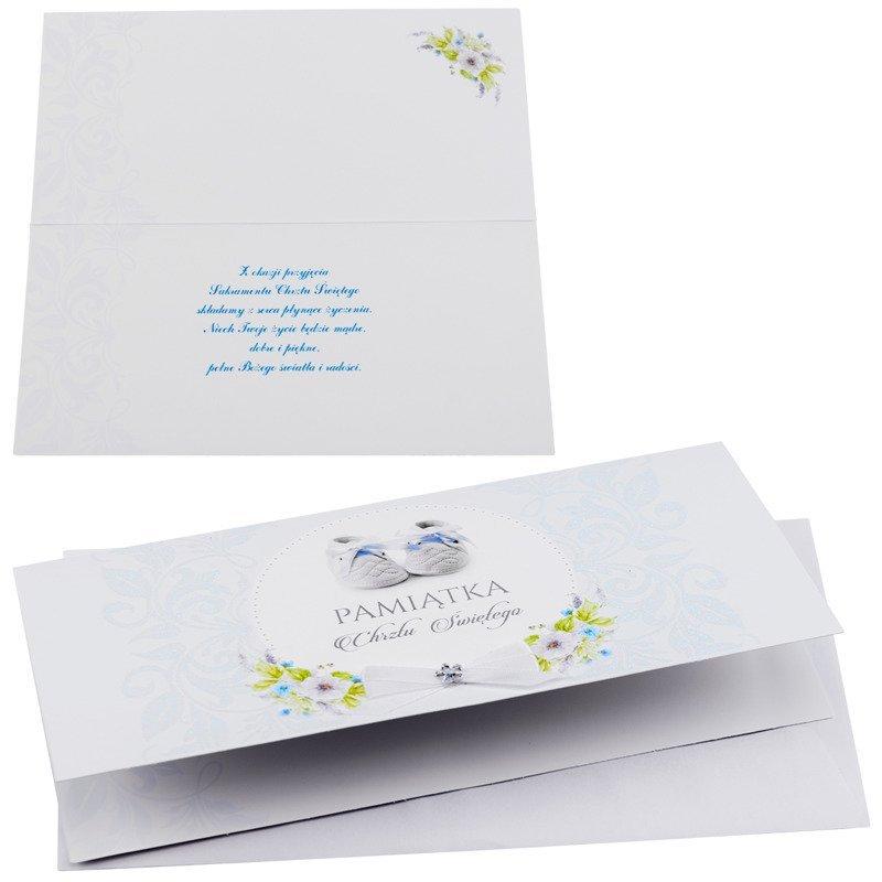 Kartka na chrzest Pamiątka Chrztu Świętego - Błękitne buciki