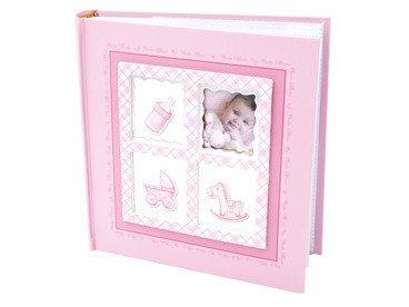 Album Różowy butekla, wózek, konik i zdjęcie  10 x15 prezent na chrzest z grawerem