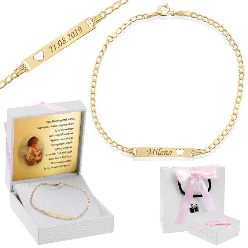 Bransoletka łańcuszek z blaszką złotą wycięte serce z regulacją złoto 585 Grawer