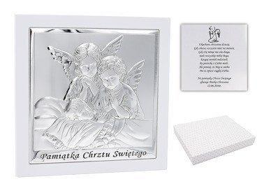 Duży Obrazek srebrny Anioł Stróż  19x19 cm Pamiątka Chrztu z Dedykacją