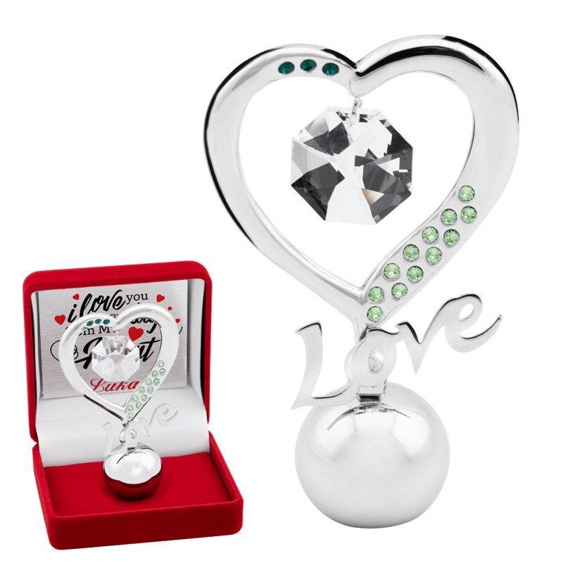 """Figurka """"Love"""" z kryształami Ślub Walentynki Prezent z Dedykacją"""