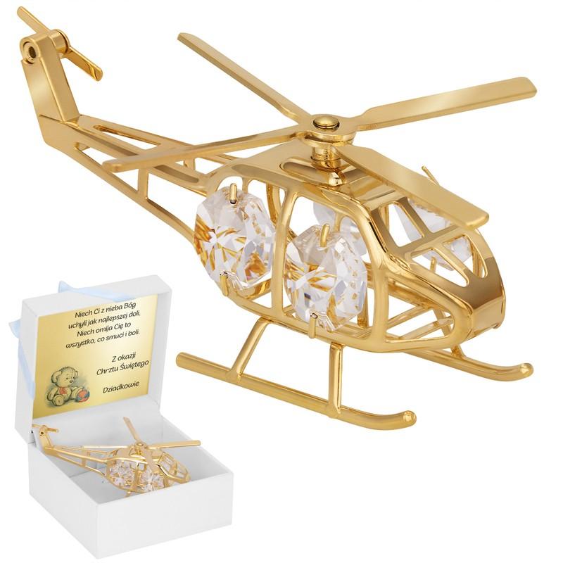 Helikopter Swarovski Pamiątka chrzest roczek z Dedykacją Niebieska Kokardka