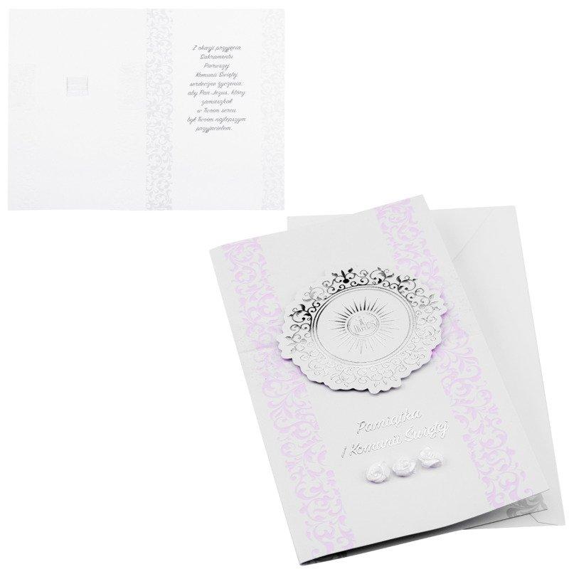 Kartka na I Komunię Świętą - Srebrno różowa IHS