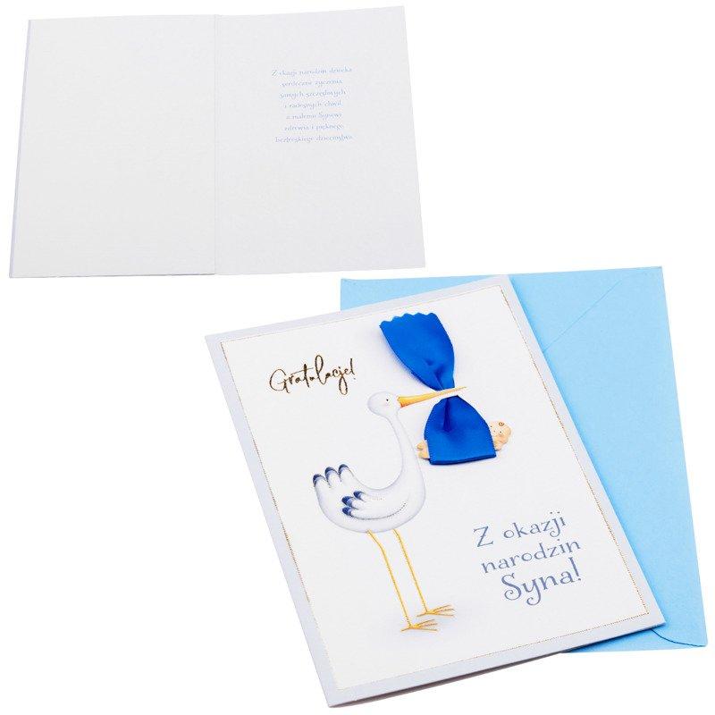 Kartka z okazji narodzin dziecka - Niebieski Bocian