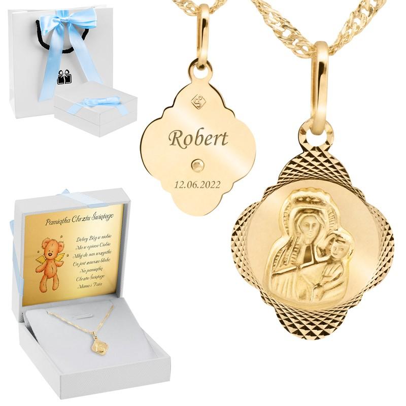 Medalik z Matką Boską z Dzieciątkiem pr 585 Chrzest Komunia Grawer