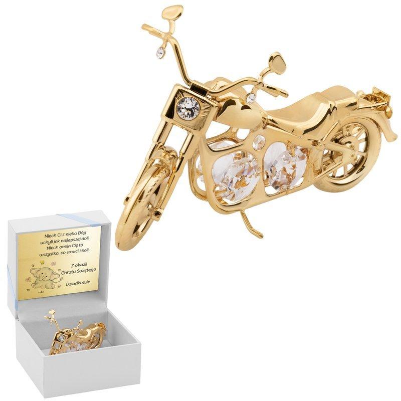 Motocykl Swarovski Choper pamiątka na chrzest roczek