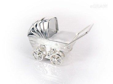 Skarbonka Wózek Chrzest Pamiątka Grawer srebro