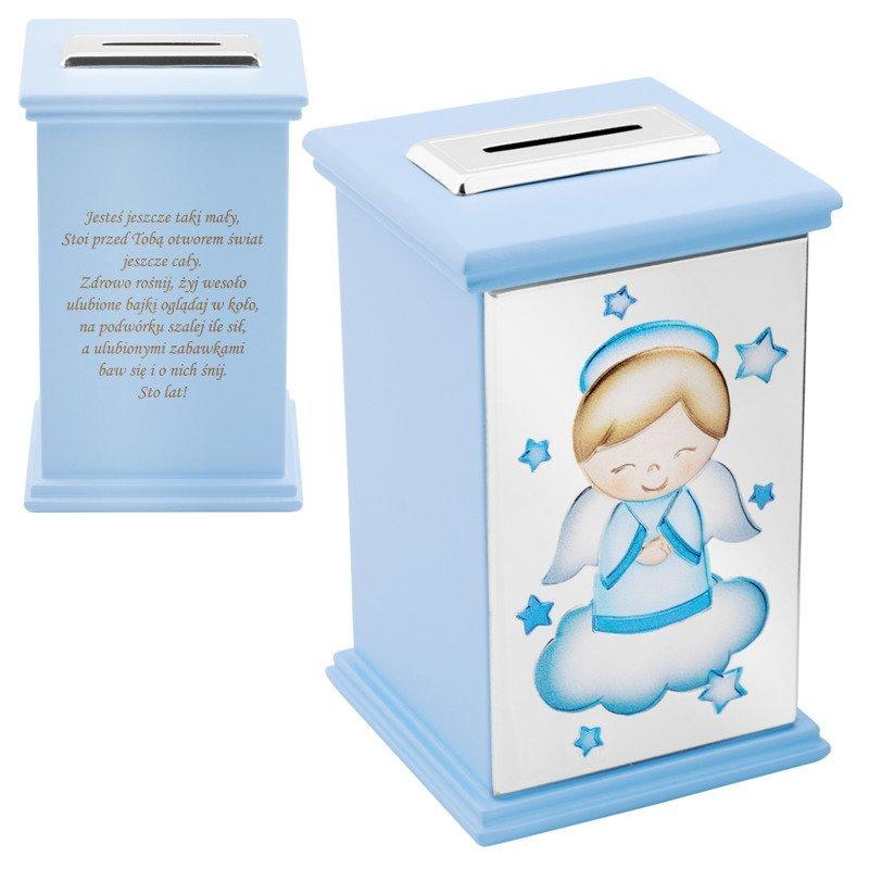 Skarbonka z aniołkiem niebieska Pamiątka na Chrzest Roczek Grawer