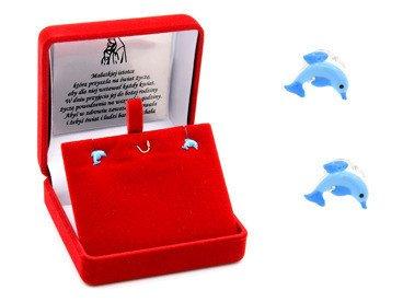 Srebrne kolczyki pr.925 emaliowane delfiny GRAWER