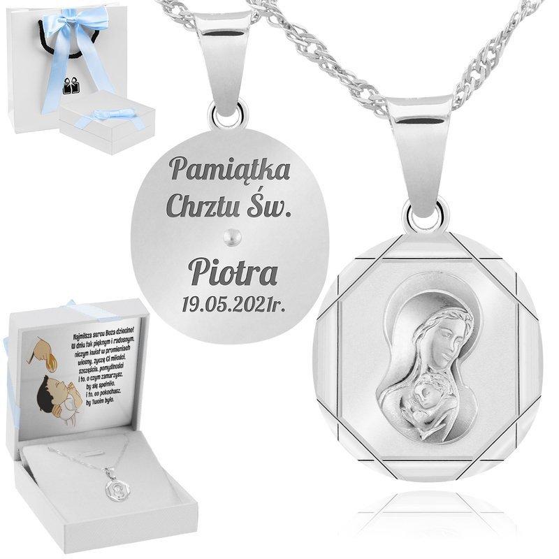 Srebrny 925 medalik Matka Boska z Dzieciątkiem Grawer Chrzest Komunia