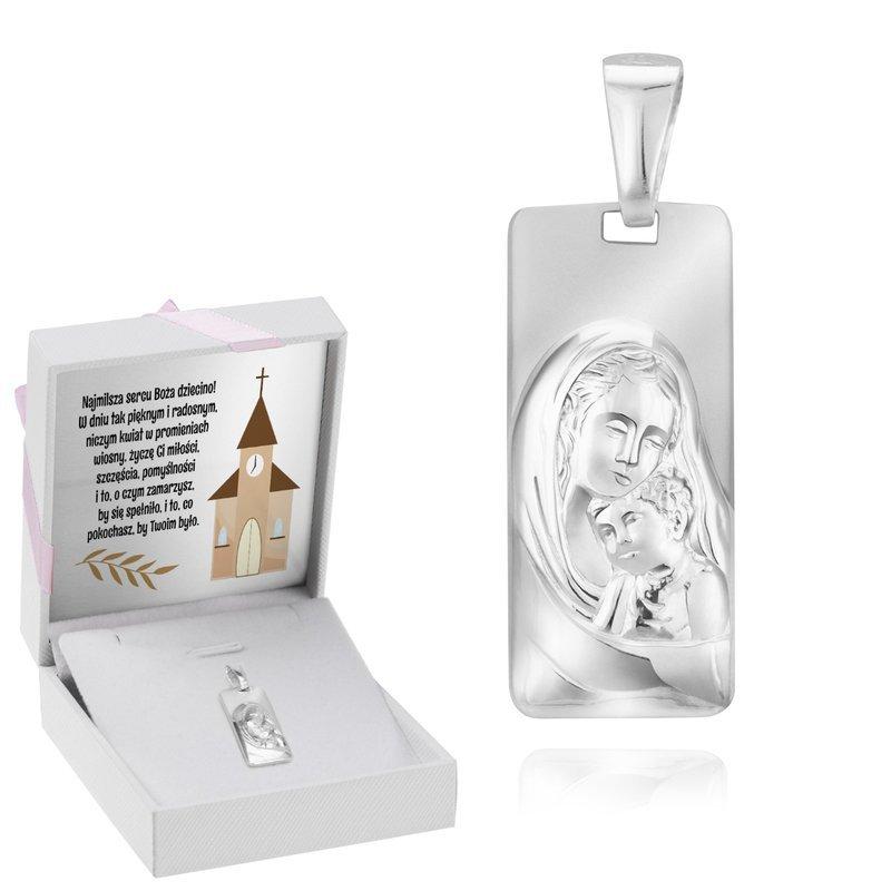 Srebrny Duży Medalik Z Matką Boską Z Dzieciątkiem Jezus
