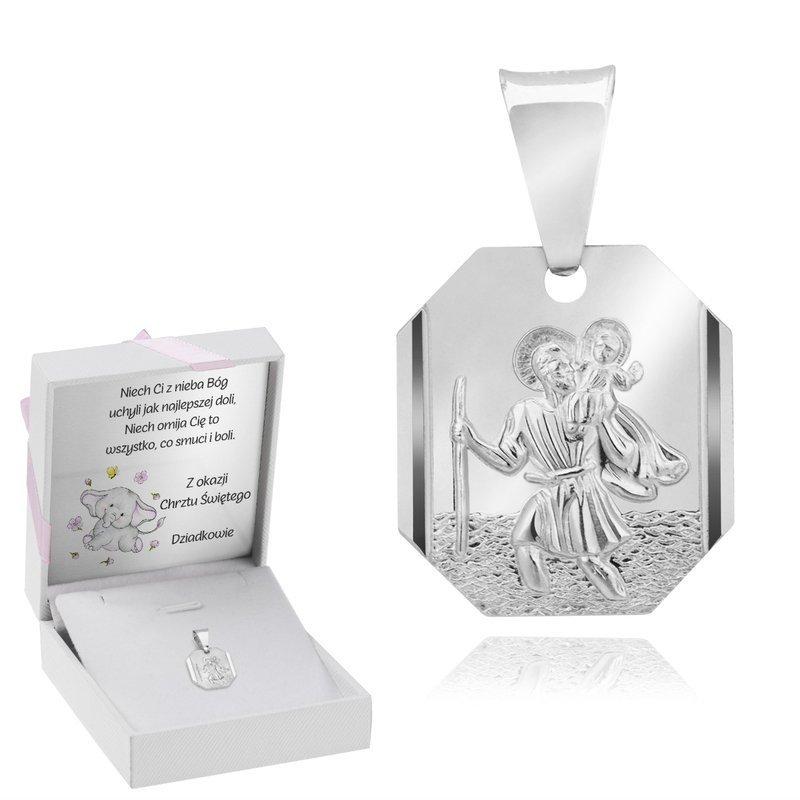 Srebrny Medalik Ze Świętym Krzysztofem Różowy