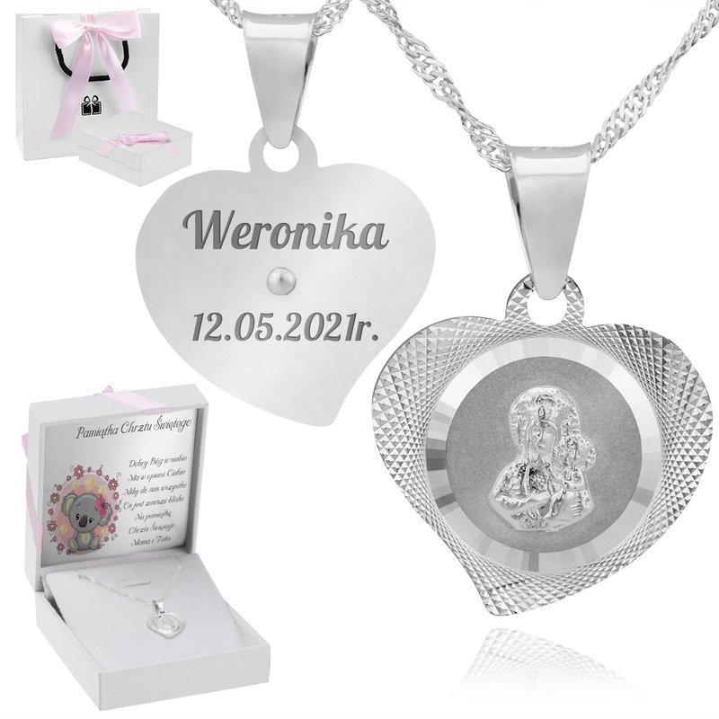 Srebrny Medalik z Matką Boską W Sercu Z Grawerem