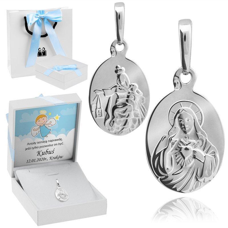 Srebrny dwustronny klasyczny medalik Jezus Matka Boska Szkaplerzna pr. 925