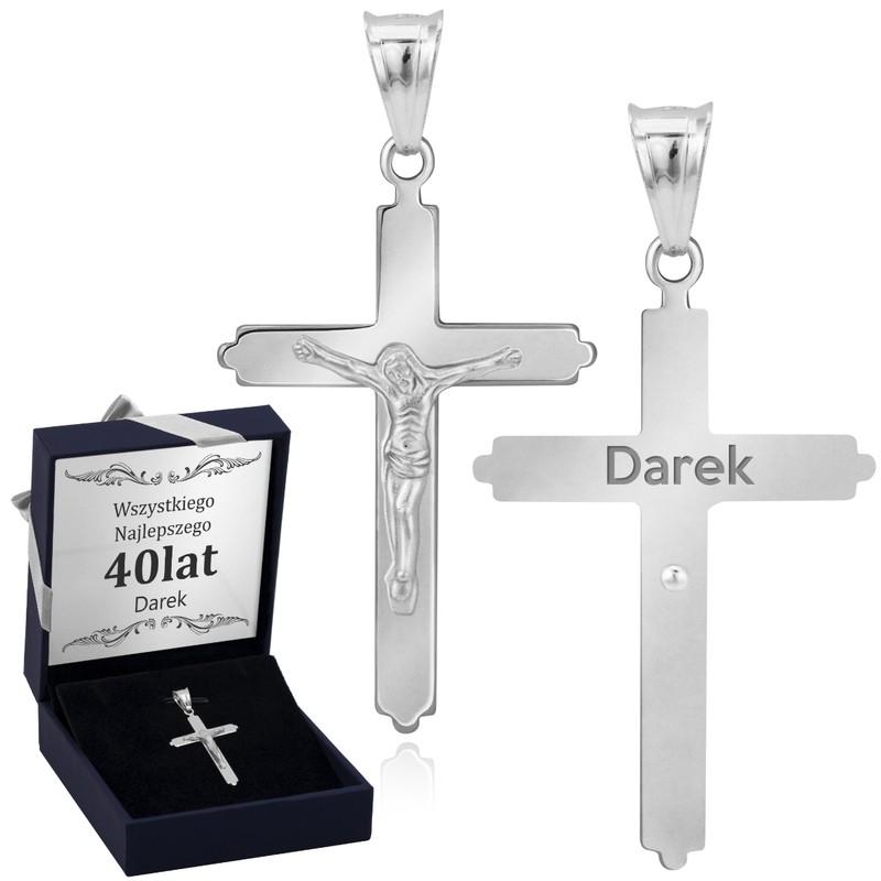Srebrny krzyżyk z Jezusem / dla mężczyzny, chłopca / z Grawerem i Dedykacją