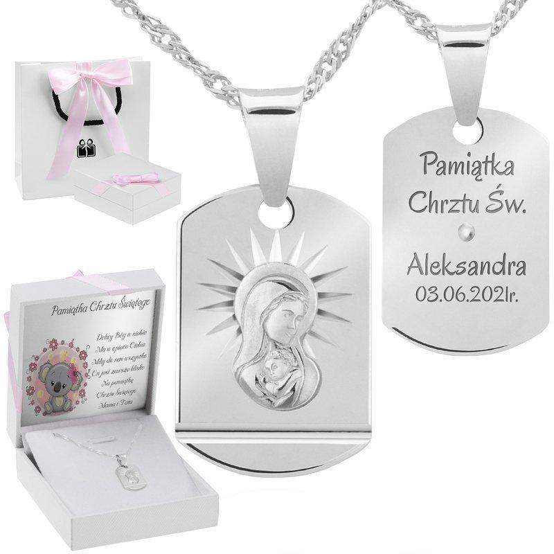 Srebrny medalik Matka Boska Madonna Pamiątka na Chrzest Grawer