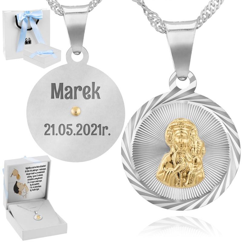 Srebrny medalik z Matką Boską Częstochowską Dedykacja