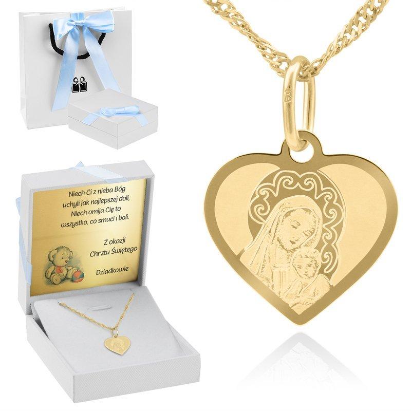 Złoty Medalik Pr 585 Matka Boska Chrzest Dedykacja niebieska kokardka