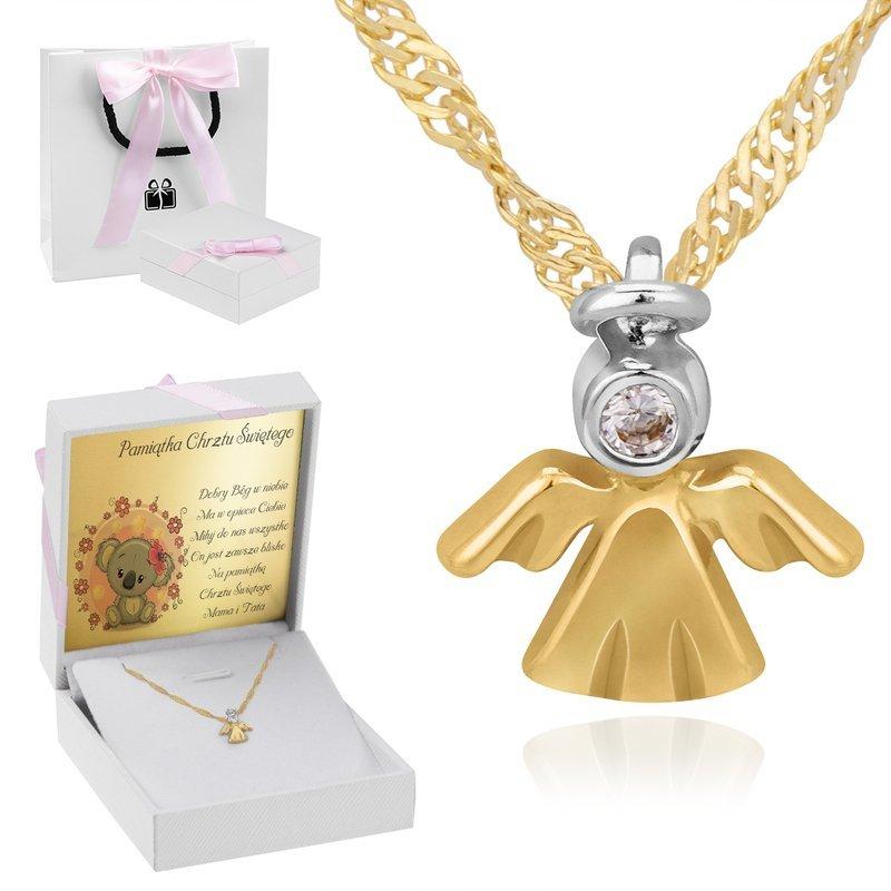 Złoty Naszyjnik Aniołek  pr. 585 Prezent DEDYKACJA różowa kokardka