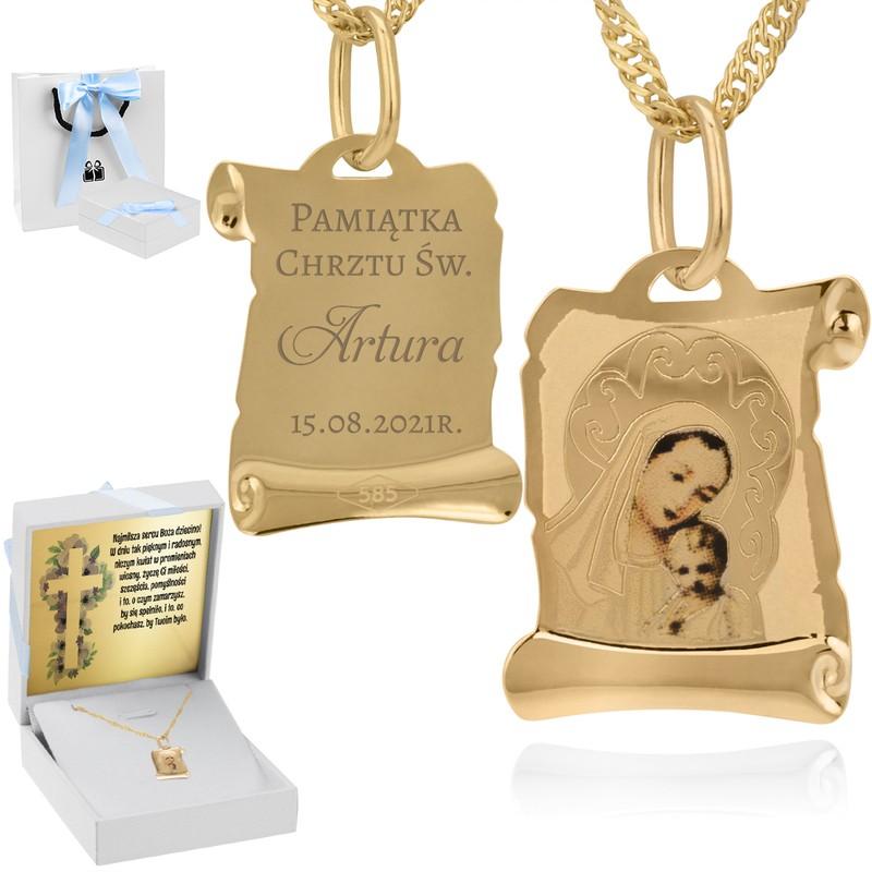 Złoty medalik z Matką Boską i Dzieciątkiem w kolorze z Grawerem - z łańcuszkiem / niebieska kokardka / na Chrzest / I Komunię Św. / pr. 585