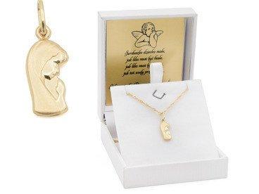 Złoty medalik z Matką Boską pr. 585 łańcuszek Pamiątka Chrzest Komunia różowa kokardka Dedykacja
