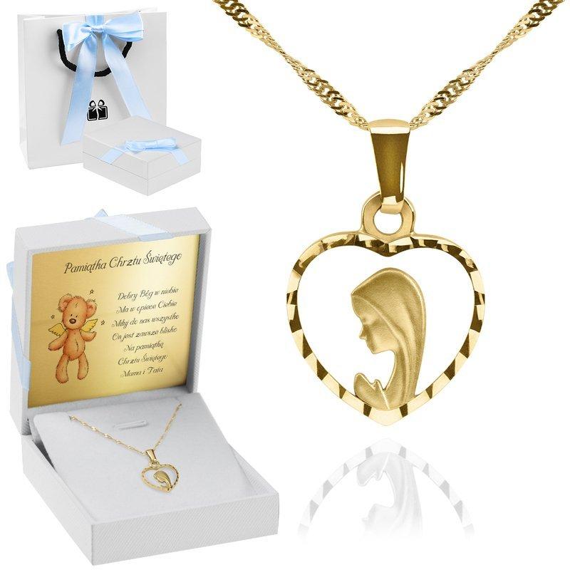 Złoty medalik z Matką Boską w serduszku łańcuszek pr. 585 Dedykacja niebieska kokardka
