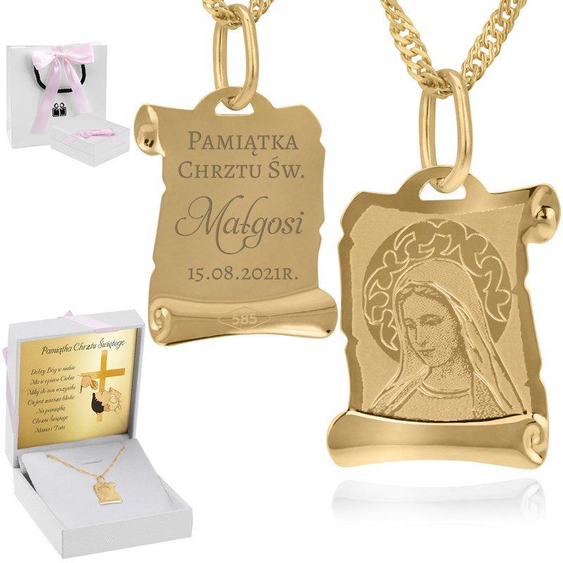 Złoty medalik z łańcuszkiem pr. 585 Matka Boska  GRAWER różowa kokardka