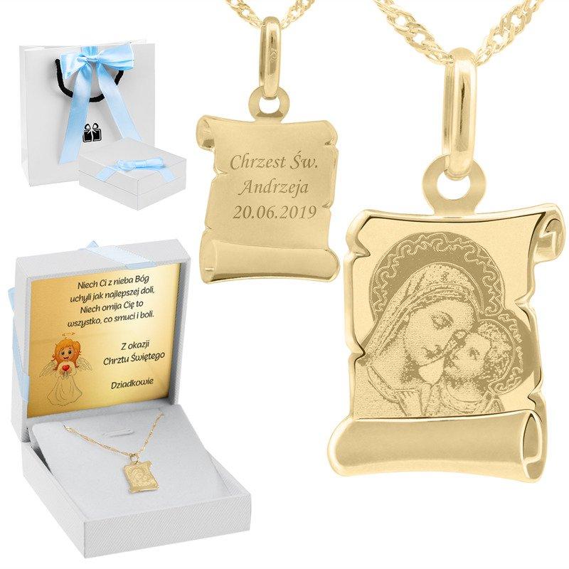 Złoty medalik z łańcuszkiem próba 585 Matka Boska z Jezusem Chrzest Komunia Grawer