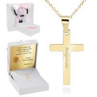 Złoty Krzyżyk pr. 585 z łańcuszkiem Prezent na chrzest Komunię z Grawerem