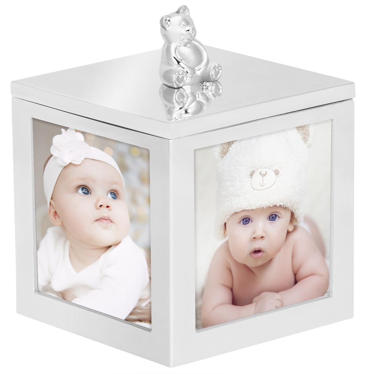 Karuzela miś z pozytywką, szkatułką i miejscem na 4 zdjęcia na chrzest roczek z Grawerem