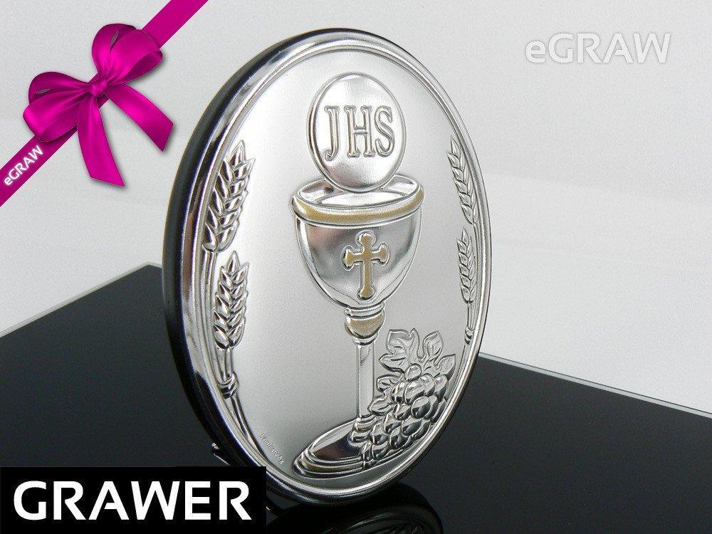 Obrazek srebrny Grawer pamiątka na I komunia św.