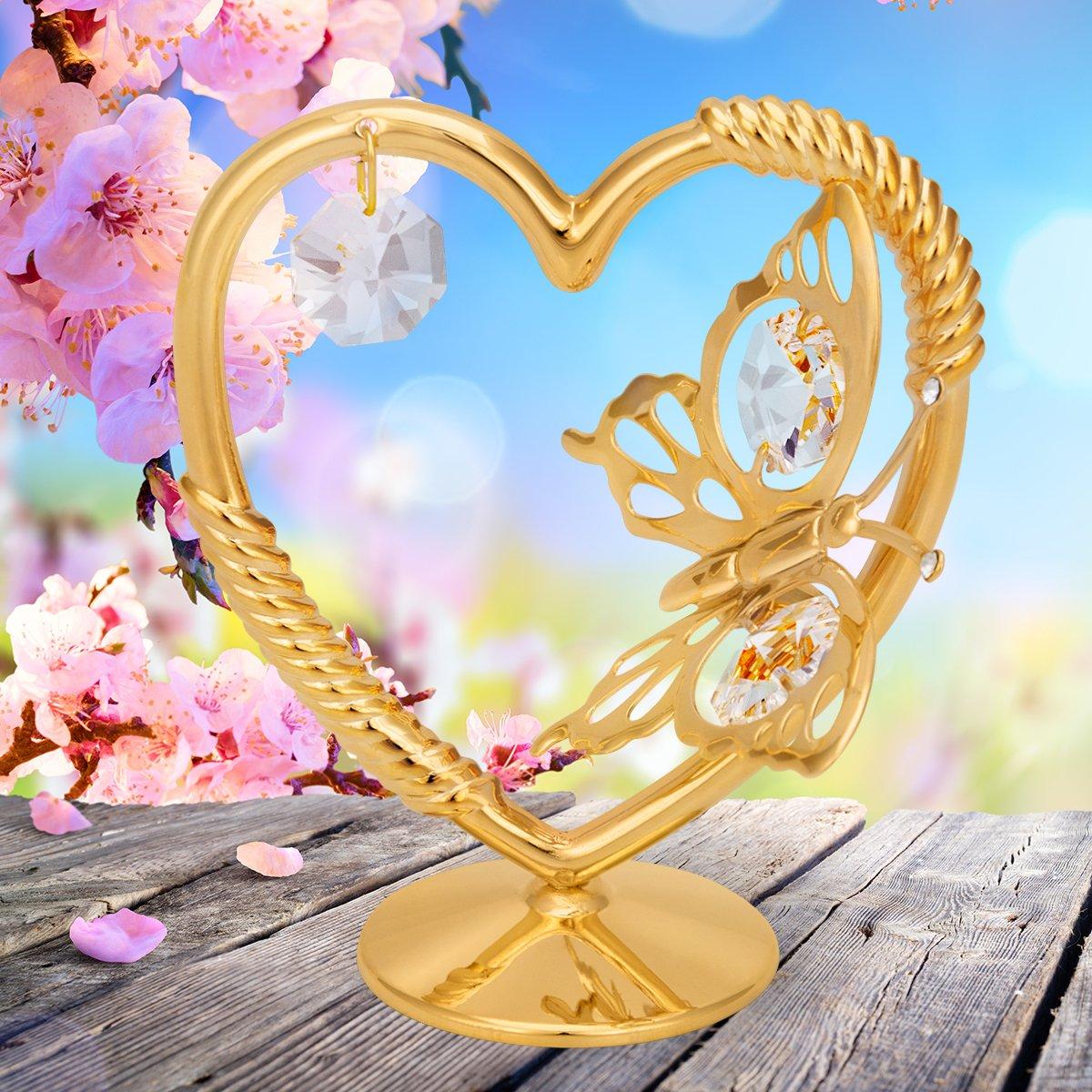 Serce z motylem na chrzest roczek Swarovski prezent TABLICZKA
