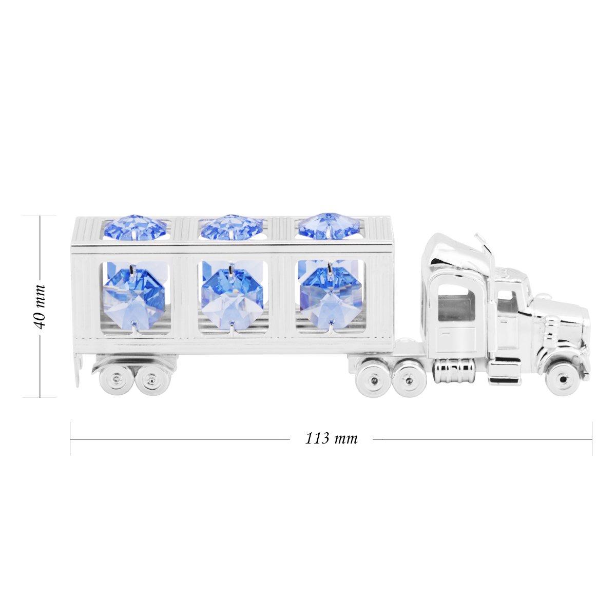 Srebrna Ciężarówka Niebieskie Kryształy Swarovski Prezent z Dedykacją
