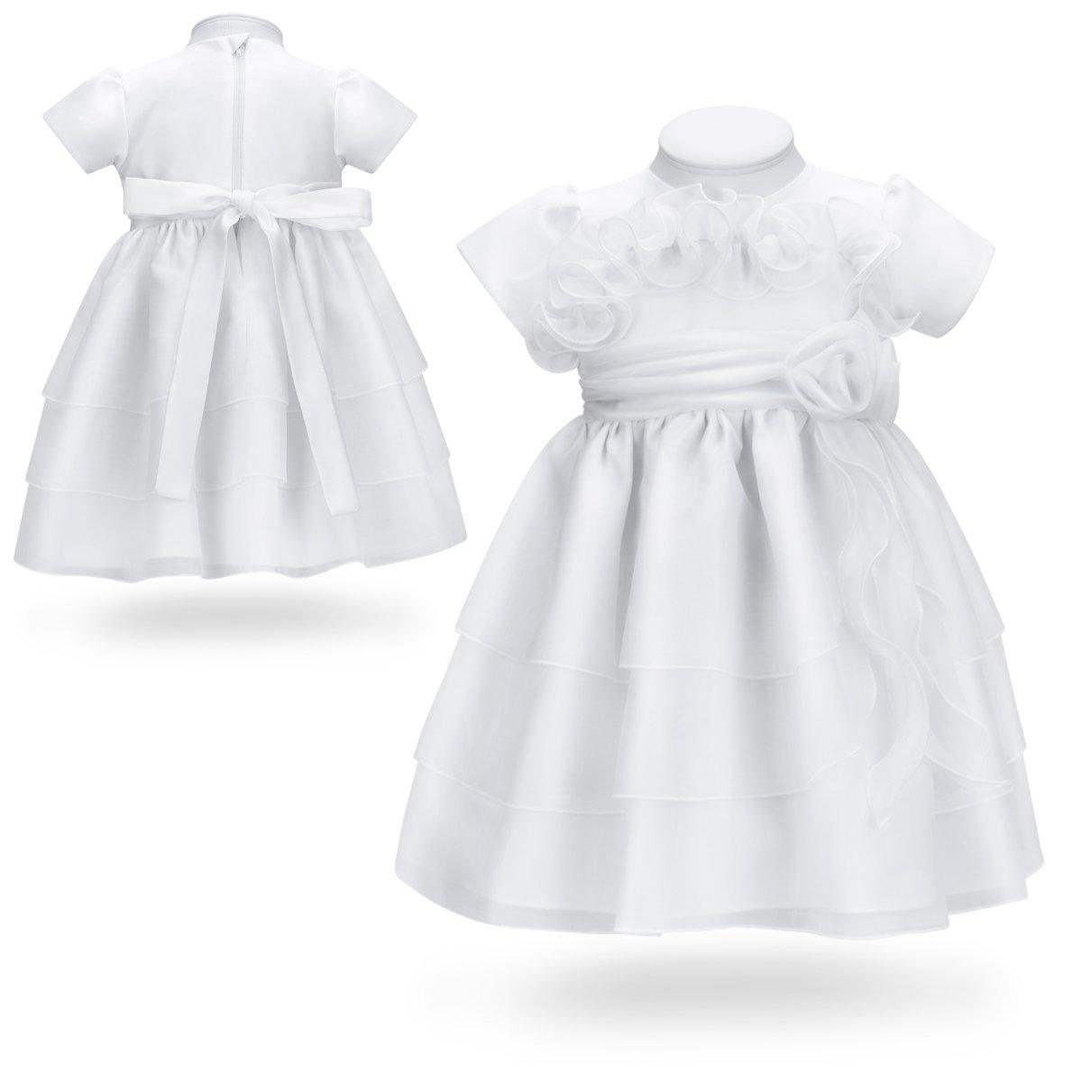 Sukienka na chrzest do chrztu biała potrójna falbana