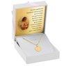 Złoty Medalik pr. 585 Serce Matka Boska Chrzest Dedykacja różowa kokardka 3