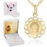 Złoty medalik okrągły ażurowy Matka Boska z Dzieciątkiem DEDYKACJA różowa kokardka 7