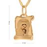 Złoty medalik z łańcuszkiem pr. 585 Matka Boska z Małym Jezusem Chrzest Komunia z Grawerem 7