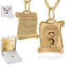 Złoty medalik z łańcuszkiem pr. 585 Matka Boska z Małym Jezusem na Chrzest Komunię Grawer 2
