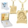 Złoty medalik z łańcuszkiem próba 585 Matka Boska z Jezusem Chrzest Komunia Grawer 3